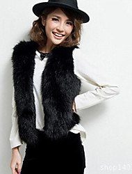 Women's Solid Color Black / Brown Vests , Casual / Party V-Neck Sleeveless Imitation waistcoat imitation fur vest