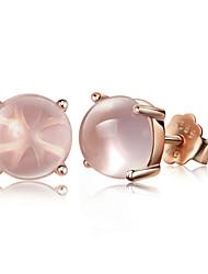 2016 Korean Women 925 Silver Sterling Silver Jewelry Pink Crystal Earrings Stud Earrings 1Pair