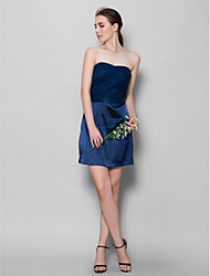 Lanting Short/Mini Tulle / Charmeuse Bridesmaid Dress - Dark Navy Sheath/Column Sweetheart