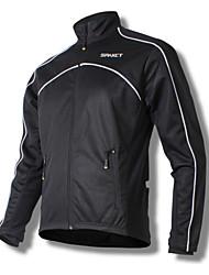 SPAKCT Bike/Cycling Jacket / Tops Men's Long Sleeve Breathable / Windproof / Thermal / Warm Fleece Solid Black M / L / XL / XXL / XXXL