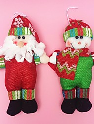 "2pcs/set 18CM/7""  Christmas Decoration Gift Santa Claus Snowman Doll Plush Toy New Year Gift"