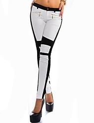 Women's Patchwork White / Black / Khaki Straight Pants , Casual