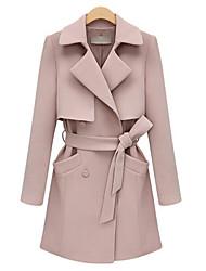 Damen Solide Mantel,Winter V-Ausschnitt Langarm Rosa / Schwarz Mittel Baumwolle / Andere