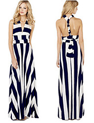 Women's Striped Multi-color Dresses , Sexy / Casual V-Neck Sleeveless