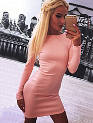 Women's New Sexy Backless Round Long Sleeve Back Zipper Bodycon Dress
