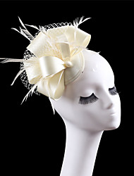 Women Satin Feather Veil Fascinators Hats for Wedding Party
