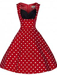 Women's Retro 50s Deep U Neck Polka Dot Sleeveless Swing Party Dress