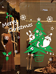 Window Stickers Window Decals Style Color Christmas Tree Snow Window Glass Decoration PVC Window stickers
