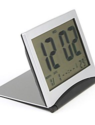 Folding LCD Digital Desk Shelf Alarm Clock with Calendar And Thermometer