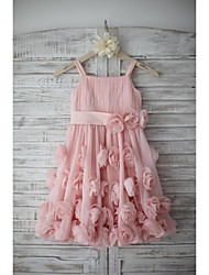 A-line Knee-length Flower Girl Dress - Chiffon Sleeveless Straps with