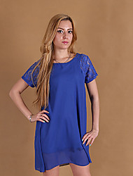 Women's Round Neck Lace Dress , Chiffon Knee-length Short Sleeve