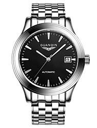 homens guanqin auto-liquidação relógio calendário 100m impermeável bar relógio de aço 40 milímetros de cristal pulso automático