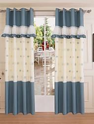 One Panel Mediterranean Geometric Blue Living Room Curtains Drapes