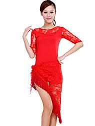 Latin Dance Outfits Women's Performance Lace / Milk Fiber Tassel(s) 2 Pieces 8 Colors