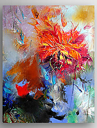 Oil Painting Impression Red Flower Painting Hand Painted Canvas with Stretched Framed Ready to Hang