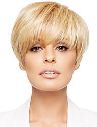 Faddish Human Virgin Remy Hand-Tied Top Female Capless Short Straight Hair Wig