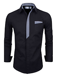 Men's Shirt Collar Casual Shirts , Organic Cotton / Polyester Long Sleeve Casual / Work Fashion All Seasons Adonis