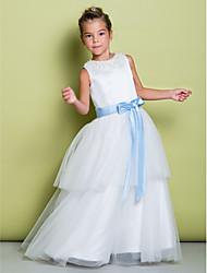 Lanting Bride Trapèze Longueur Sol Robe de Demoiselle d'Honneur Fille - Satin / Tulle Sans Manches Bijoux avec Billes / Noeud(s)