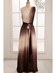 A-Line One Shoulder Floor Length Chiffon Evening Dress with Ribbon