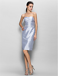 Knee-length Taffeta Bridesmaid Dress Sheath / Column Strapless with Beading