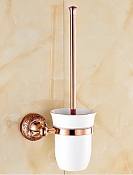 Neoclassical Rose Gold  Finish Brass Material Toilet Brush Holder