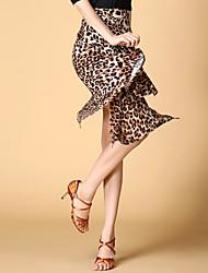 Latin Dance Skirts Women's Performance / Training Chinlon / Spandex Leopard 1 Piece Black / Red / Leopard Print