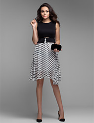 Women's Sleeveless Polka Dot Fit & Flare Chiffon Dress