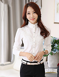 Women's OL Career Stand Solid / Lace Stitching Long Sleeve Shirt