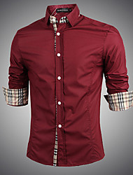Men's Solid Casual / Work / Formal / Plus Sizes Shirt,Polyester Long Sleeve Black / Red / White