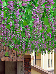 Rattan Hanging Decoration Wisteria Polyester Plants Artificial Flowers Vine