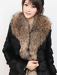 Women's Solid Color White / Black Coats & Jackets , Casual / Party V-Neck Long Sleeve Imitation fur coat