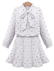 Women's Polka Dot White / Black Dress , Casual Bow Long Sleeve