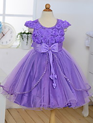 A-line Knee-length Flower Girl Dress - Cotton / Tulle / Polyester Sleeveless Jewel with