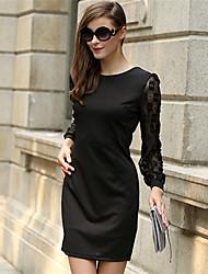여성의 레이스 드레스 라운드 넥 긴 소매 무릎 위 레이스 / 니트웨어