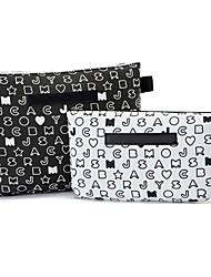 2PCS Black&White Letter Pattern Briefcase Shaped Thicken Clutch Make up/Cosmetics Storage Bag Set