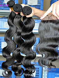 "10""-26"" Eurasian Virgin Hair Body Wave Human Hair Weft With Lace Closure Natural Black Color Baby Hair"