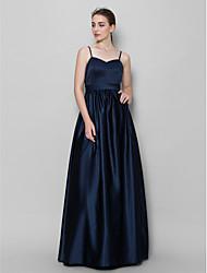Floor-length Satin Bridesmaid Dress A-line Spaghetti Straps with