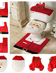THREE Christmas Day Santa Claus Toilet Sets