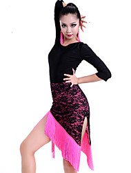 Latin Dance Outfits Women's Performance / Training Lace / Milk Fiber Lace / Tassel(s) 2 Pieces Fuchsia / Green