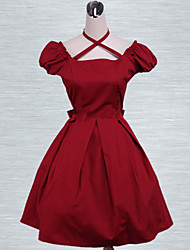 Cotton Red Bow Classic Lolita DressShare on email1   Cotton Red Bow Classic Lolita Dress