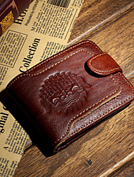 Men Cowhide Bi-fold Wallet / Card & ID Holder / Coin Purse - Brown