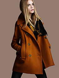 KaXi Women's Solid Color Black / Brown / Orange Coats & Jackets , Casual / Work Pan Collar Long Sleeve