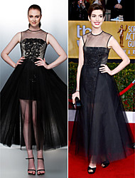Homecoming / Prom / Formal Evening Dress - Black Plus Sizes / Petite A-line / Princess Jewel Tea-length Tulle