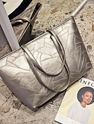 Women PU Weekend Bag Tote - Gold / Black