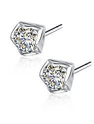 925 Sterling Silver Korean Style CZ Stone Earring Studs