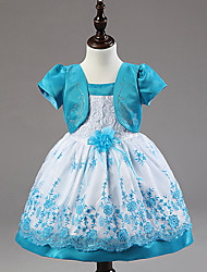 Princess Knee-length Flower Girl Dress - Cotton Organza Satin Chiffon Scalloped with Appliques Flower(s) Sequins