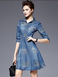 Women's Casual/Daily A Line Dress,Floral Shirt Collar Above Knee ½ Length Sleeve Blue Summer