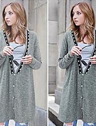 Повседневный - ЖЕНЩИНЫ - Пальто и жакеты ( Вязаная одежда V-образный - Длинный рукав