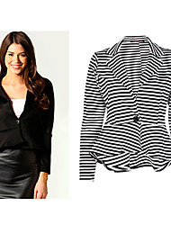 vins Women's Striped Multi-color Coats & Jackets , Casual / Work V-Neck Long Sleeve