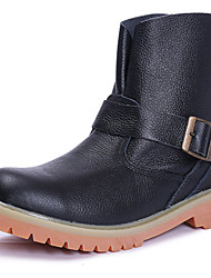 Women's Shoes Leather Flat Heel Cowboy / Western Boots / Combat Boots Boots Outdoor / Athletic / Casual Black / Brown